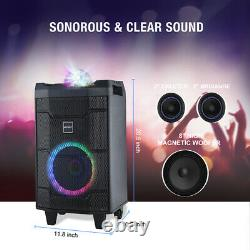 8 LED Portable Karaoke Machine System with 2 wireless Mics Bluetooth AUX Battery