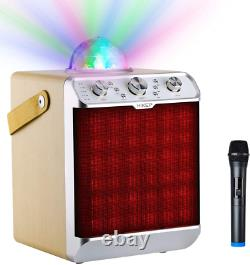 HIKEP Bluetooth Karaoke Machine with Disco Ball Upgraded Portable PA System