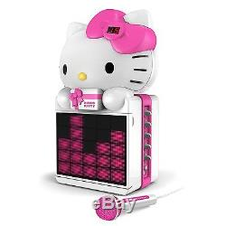 Hello Kitty Portable Cd+g Player Karaoke Machine System Color Led Lights Usb Mp3