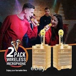 Karaoke Machine, Portable PA Speaker System With 2 Wireless Microphone Gold