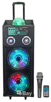 NYC Acoustics Dual 10 Karaoke Machine/System with5 Mics 4 ipad/iphone/Android/TV