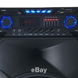 Portable 15 PA Karaoke Bluetooth Speaker Subwoofer Sound System Machine With2Mic