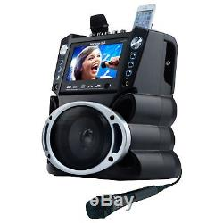 Portable Karaoke System Black With 7 Inch Color Screen Machine Home Party Disco