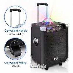 Pyle Portable Karaoke PA Speaker Disco Jam System Machine with LED Party Ligh