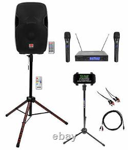 Rockville 15 Karaoke Machine System withLED Stand+Tablet Stand+(2) Wireless Mics