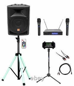 Rockville 8 Karaoke Machine System withLED Stand+Tablet Stand+Dual Wireless Mics