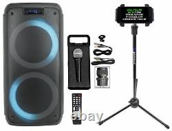 Rockville ROCK PARTY Dual 8 Karaoke Machine System withLEDS's+Mic+Tablet Stand