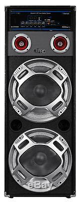 Technical Pro Dual 12 Bluetooth Karaoke Machine System withLED's+2 Wireless Mics