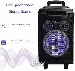 Wireless Karaoke Machine Portable PA System Bluetooth Speaker with 8'' Subwoofer