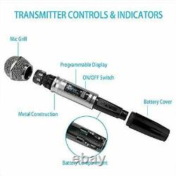 Wireless Microphone System, 100 Channel Dual UHF Metal Cordless Handheld Mic